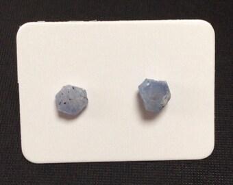 Genuine Raw Sapphire Earrings, Sky Blue Sapphire Stud Earrings