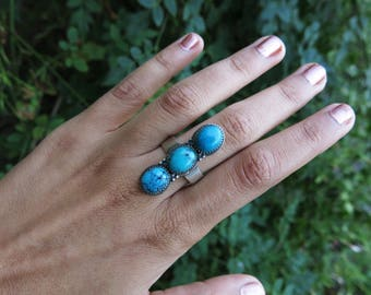 Size 8 Triple Turquoise Sterling Silver Ring