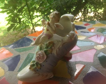 Vintage hand painted  ceramic angel figurine on shoe planter or container- Japan