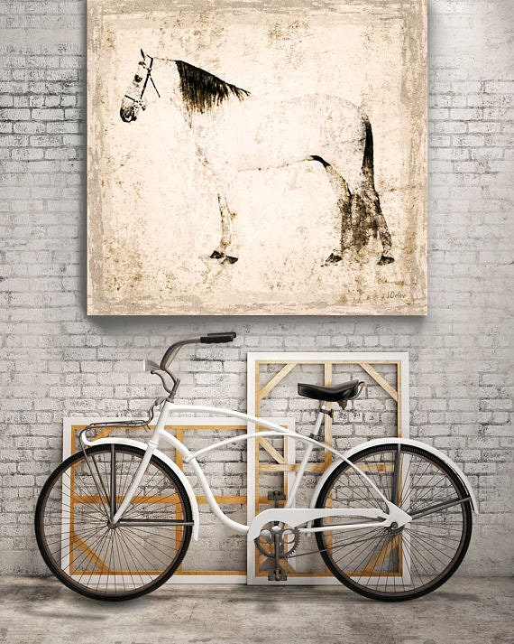 "White Horse. Extra Large Horse, Unique Horse Wall Decor, White Rustic Horse, Large Contemporary Canvas Art Print up to 48"" by Irena Orlov"
