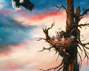Eagle Family print from original oil painting, double matted, 16 x 20
