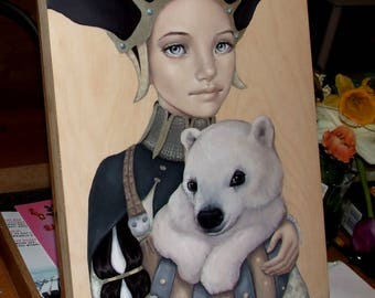 The Bearer of Good News - ORIGINAL oil painting on wood - pop surrealism fantasy art portrait medieval costume polar bear
