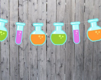 Science Banner, Science Garland, Science Decorations, Test Tube Banner Test Tube Garland, Scientist Birthday (3817124A)