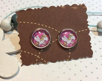 Unicorn earrings earrings cabochon