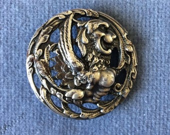 Arts And Crafts Sterling Silver Griffon Button. 1902. Levi and Salman. Mythical Beast. FREE SHIPPING
