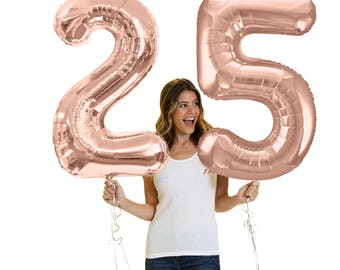 Giant Rose Gold 25th Birthday Balloon - 16th 21st 40th 50th Birthday balloons, 25th Birthday Decorations, 25 Party supplies, twenty-fifth
