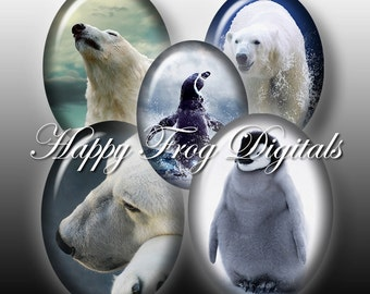 Polar bears and penguins - 30x40, 18x25 and 13x18 mm ovals - Digital Collage Sheet - 196HFD - Printable Download - Instant Download