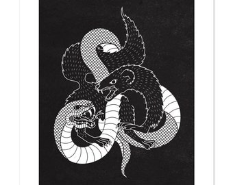 The Snake and the Mongoose, Black and White, Illustration, Art Print 12x16