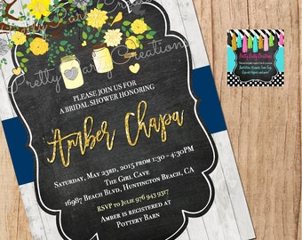 Yellow, Navy & Grey Floral Jars invitation - You Print