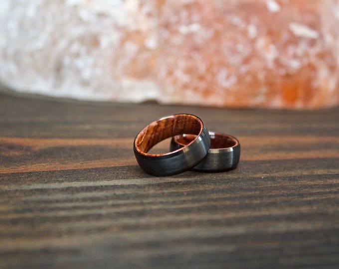 Featured listing image: Wood Ring, Black Tungsten Carbide Ring, Wood Rings, wooden ring, wooden rings, wedding band, Wood rings for men, Wood, Wood Wedding Band