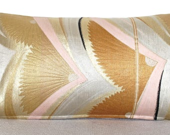 Luxury Decorative Bolster Cushion in Metallic Art Deco Fan Arch made from fine woven Vintage Japanese Obi Silks in Pink Gold Rust & Silver