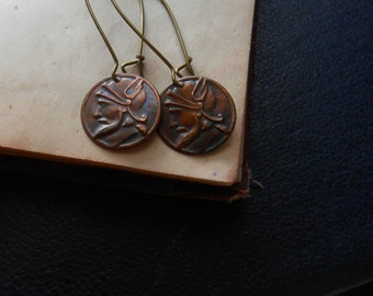 mercury - etruscan mercury copper coin with kidney wires - indie occult jewelry