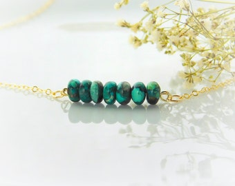 Turquoise Bar Necklace, Turquoise, December Birthstone, Everyday Necklace Birthstone Necklace, Gold Fill, Simple Gold Necklace, Gift for Mom