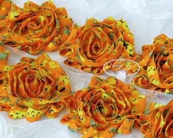 1 ONE yard Orange Spring Floral Print 2 1/2 inch- Silk Chiffon Shabby Rose Trim, Hair Bow. Chiffon Rossettes