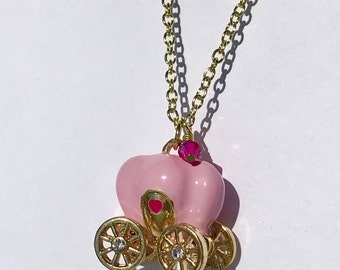 Pink Princess Carriage Necklace