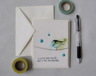 A Little Bird Told Me   Blank Greeting Card   Birthday, Watercolor