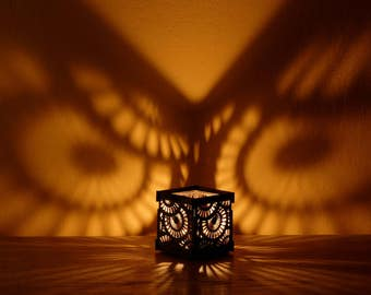Dark gray black Shadow lantern Candleholder with round owl eyes ornament Wooden tealight Candle Holder