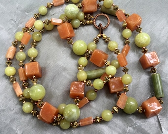 "Double strand Art Deco necklace 22"" Chartreuse tan caramel Geometric statement jewelry Unique natural stone necklace Two strands OOAK modern"