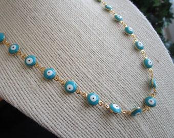 Gold tone round evil eye charm necklace - necklace with blue evil eye charm - blue eye necklace - evil eye charm chain - blue evil eye chain