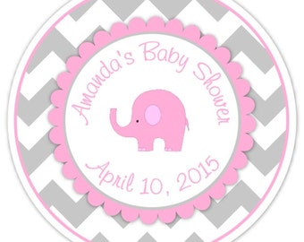 Mod Elephant Baby Shower Stickers, Pink and Gray Chevron Elephant Baby Shower Labels, Elephant Stickers