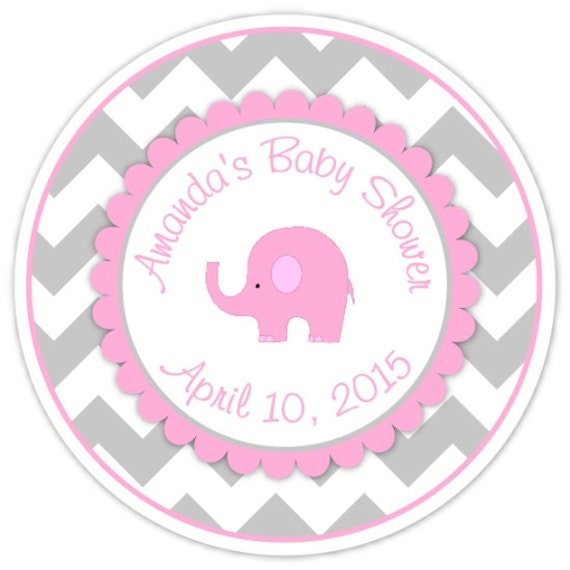 Mod Elephant Baby Shower Stickers, Pink And Gray Chevron Elephant Baby  Shower Labels, Elephant Stickers From Delightdesignbiz On Etsy Studio