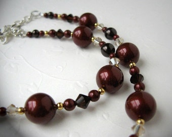 Bordeaux - Swarovski Crystals and Pearls Necklace, adjustable length from 16-inch to 18-inch