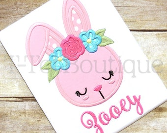 SALE - Easter Bunny with Flower Crown Embroidered Shirt or Bodysuit Spring Girls Easter Shirt - FREE PERSONALIZATION