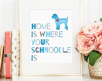 Schnoodle dog print, poodle and schnauzer mix dog print, personalized dog art print for your schnoodle, dog wall art, gift for dog owners