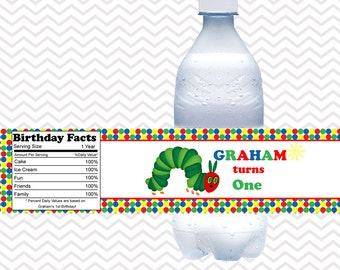 Hungry Caterpillar - Personalized Water bottle labels - Set of 5 Waterproof labels