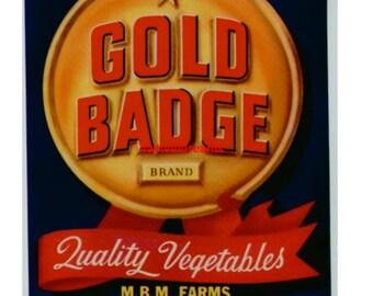 1950s Gold Badge MBM Farms Phoenix AZ Veggie Crate Label