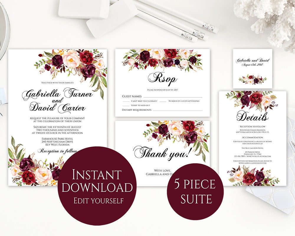 Wedding Invitation Template Invitation Suite Template