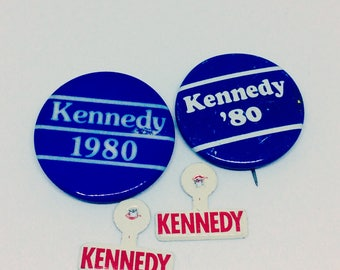Vintage 1980s Kennedy Campaign Buttons and Badges