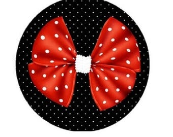 cabochon 20mm red flat bow