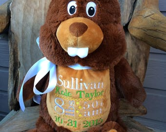 Personalized Beaver, Birth Stats Animal, Birth Stats Beaver, Embroidered Stuffed Animal, Birth Announcement, Embroidered Animal, Beaver