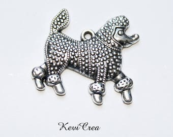 4 dog charms x 29mm silver metal