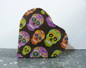 Sugar Skull Trinket Box, Decoupaged skull box, Small jewellery Skull box, Decoupaged Sugar Skull Box, Skull trinket box, Heart box