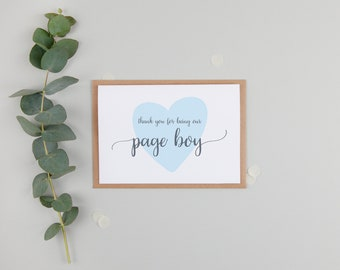 Thank You For Being My Page Boy Card - Page Boy Card - Page Boy Thank You Card - Cute Page Boy Card - Thank You For Being Our Page Boy
