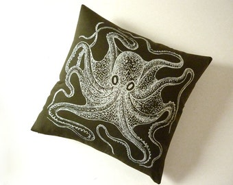 Vintage Octopus silk screened cotton canvas throw pillow white on moss