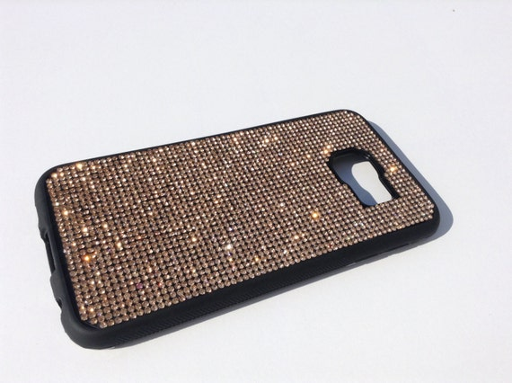 Galaxy S6 Rose Gold Diamond Crystals on Black Rubber Case. Velvet/Silk Pouch Bag Included, Genuine Rangsee Crystal Cases.
