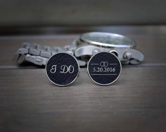 Custom Cuff Links, Custom Wedding Gifts, Wedding Cuff links, Engraved Cuff links, Groomsmen Gift, Custom Groomsmen Gifts --SSCL-B-IDO