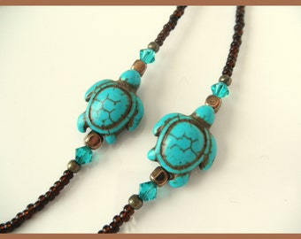 Cute Turquoise Sea Turtle Eyeglass Chain Lanyard - Seaturtle Glasses Necklace - Turtle Reading Glasses Chain - Seaturtle Eye Glasses Holder