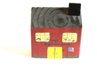 Vintage Hand painted red wooden  school house