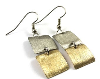 Mixed Metal Earrings Geometric Brass and Silver Dangle Earrings