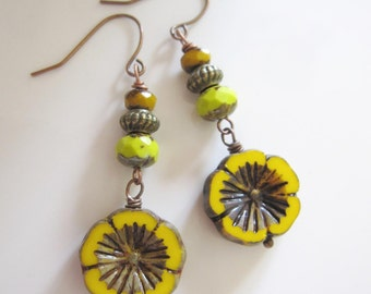 Yellow Flower Earrings, Pansy, Vintage Style, Boho, Green, Bohemian Earrings, Hippie Dangles, Everyday Earrings, Redpeonycreations