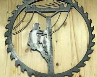 Lineman Decor- Lineman Door Hanger- Personalized Metal Sign- Barn Decor, Wall Hangings- Gift Idea- Rustic Sign- Lineman Wreath- Metal Art
