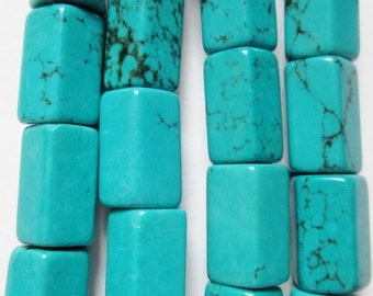 "Blue Turquoise Magnesite Tube beads 12 mm x 8 mm - Gemstone Beads - Full Strand 16"", 32 beads, A-Quality"