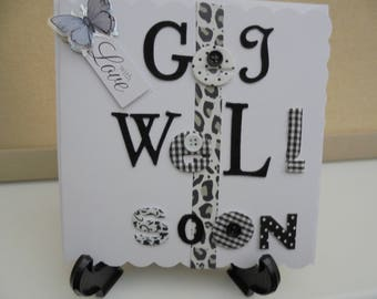 Black/White and Silver handmade ,Get Well Soon Card, Leopard Print Ribbon, With Love, greeting card, plus free gift tag and FREE POSTAGE