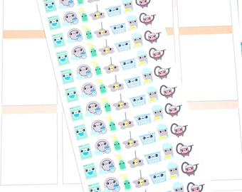 Mini Kawaii Cleaning Stickers - Cleaning Stickers - Chore Stickers - Kawaii Stickers - Planner Stickers