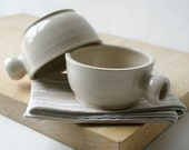 Set of two wide stoneware soup mugs - glazed in simply clay