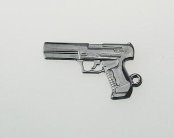 10 pcs Zinc Gunmetal Handguns Charms Pistol Revolver Decorations Findings 22x37 mm. Gun Gun 2237 3 CHM SP
